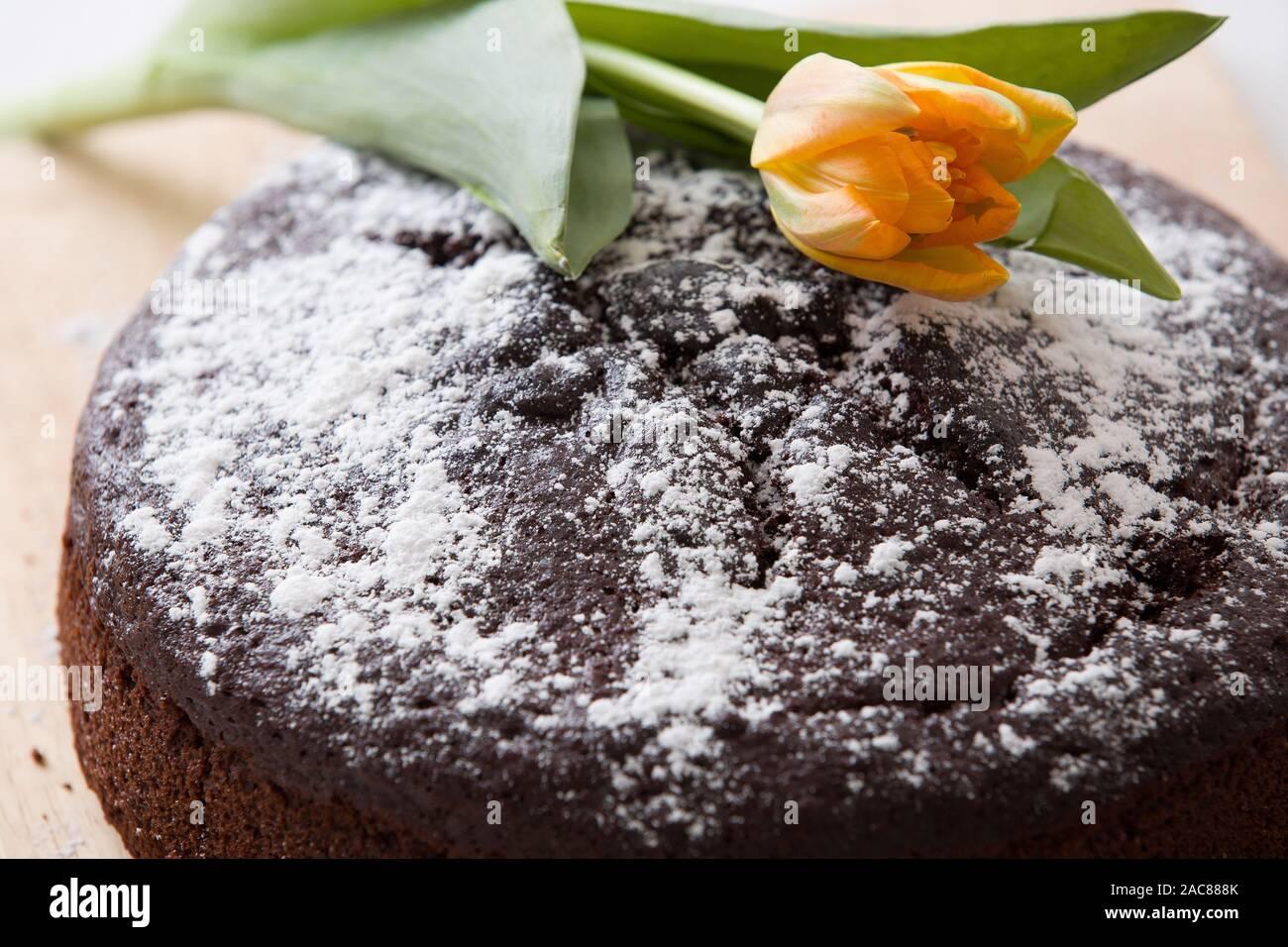 Cool Homemade Fresh Chocolate Birthday Cake With White Sugar Powder On Funny Birthday Cards Online Elaedamsfinfo