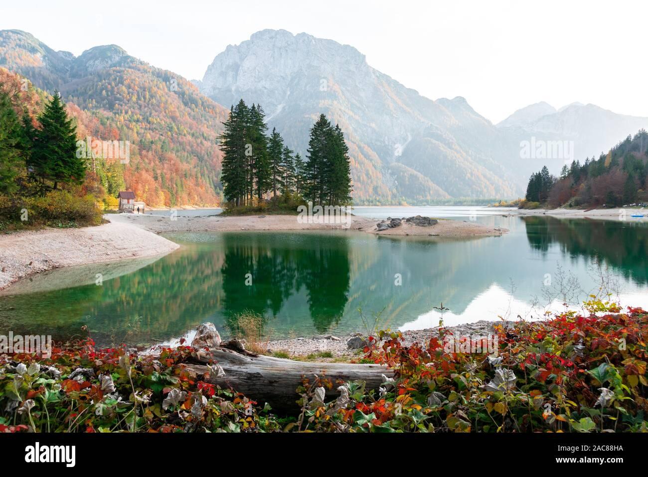 Landscape view of Predil lake shore, Italy, Europe Stock Photo