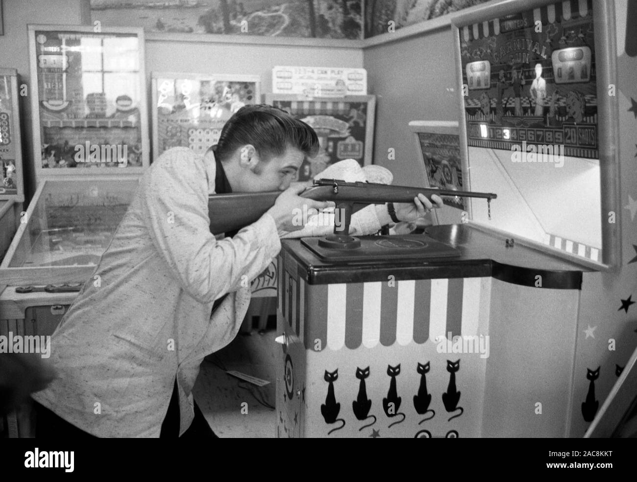 Elvis Presley taking a break from touring in 1956. The location is very likely Detroit, Michigan, where Elvis was performing at the Fox Theater on May 25, 1956 Stock Photo