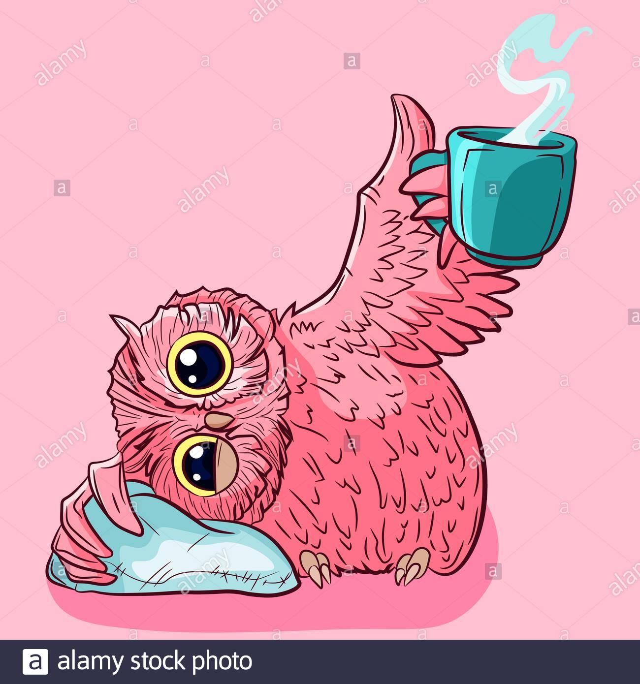 pink-sleepy-owl-drinking-his-hot-morning