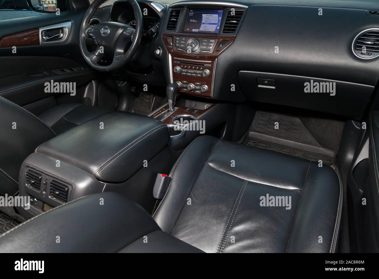 Novosibirsk Russia 11 28 2019 View To The Interior Of Nissan Pathfinder 2015 With Dashboard Clock Media System Front Seats And Steering Wheel A Stock Photo Alamy