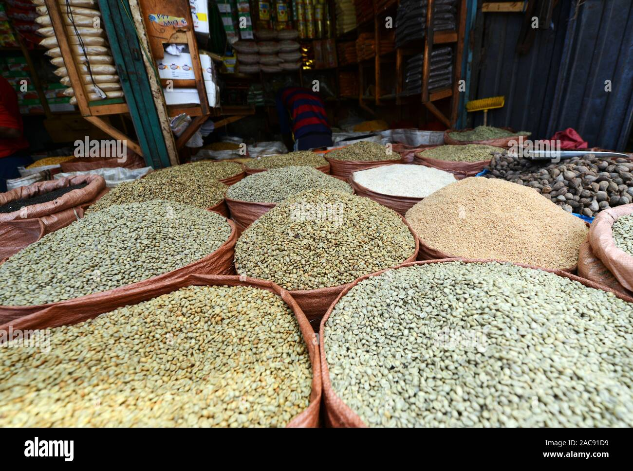 Green Coffee Beans On Sale At The Mercato Market In Addis Ababa