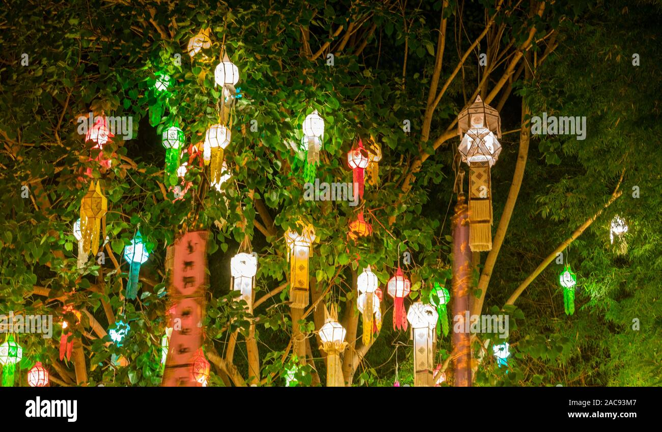 Hanging Coloured Lanterns In Trees For New Year S Eve Night In Chiang Mai Thailand Stock Photo Alamy