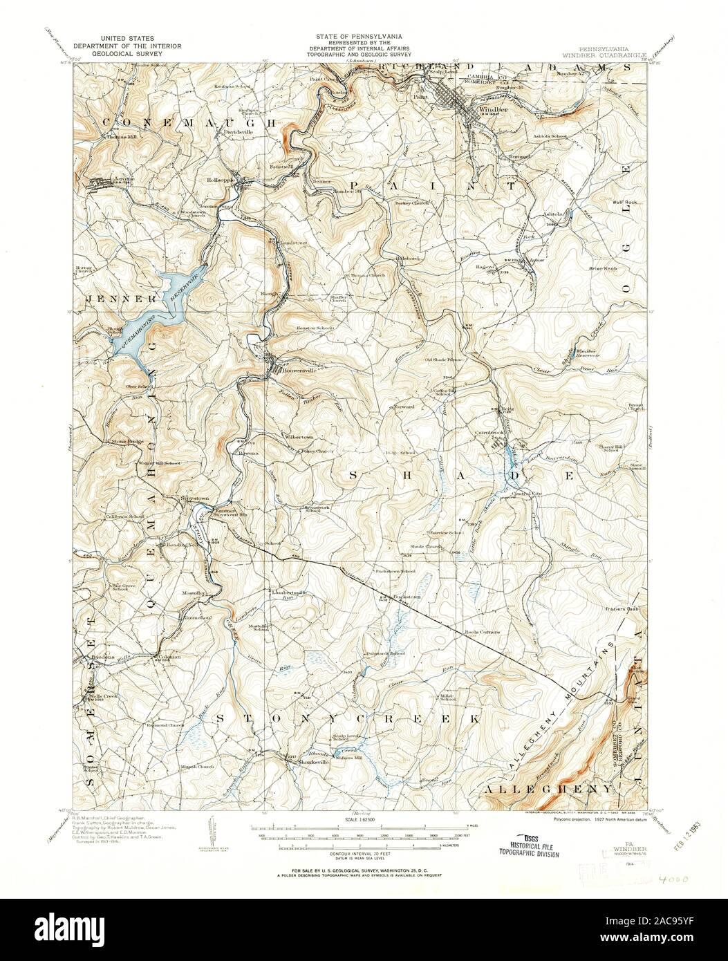 USGS TOPO Map Pennsylvania PA Windber 222589 1914 62500 ... Topo Map Of Allegheny Mountains Pa on map of pocono mountains pa, map of endless mountains pa, map of pocono mountain area,