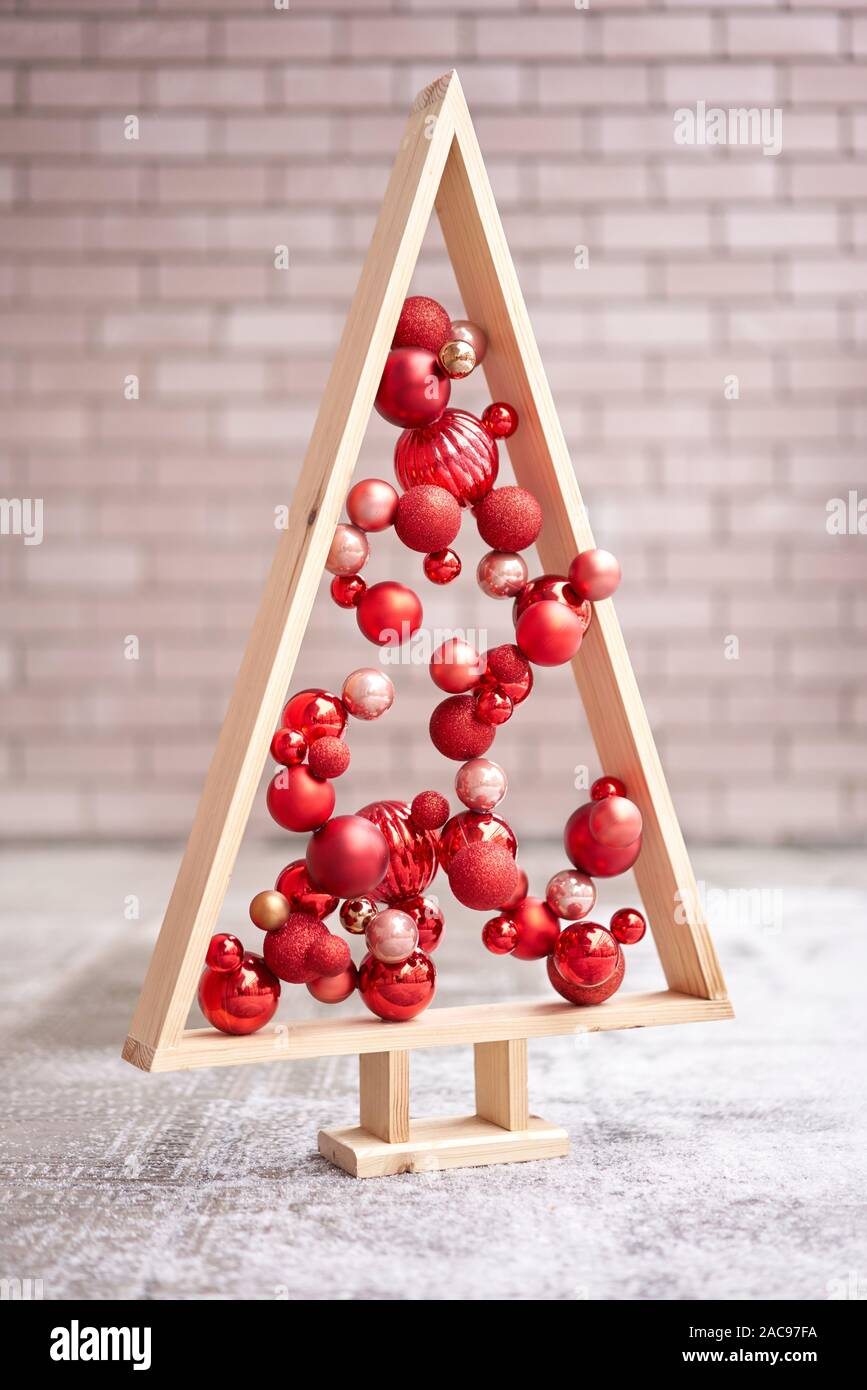 Alternative Wooden Christmas Tree A Handmade Christmas Tree And Red Christmas Balls Stock Photo Alamy