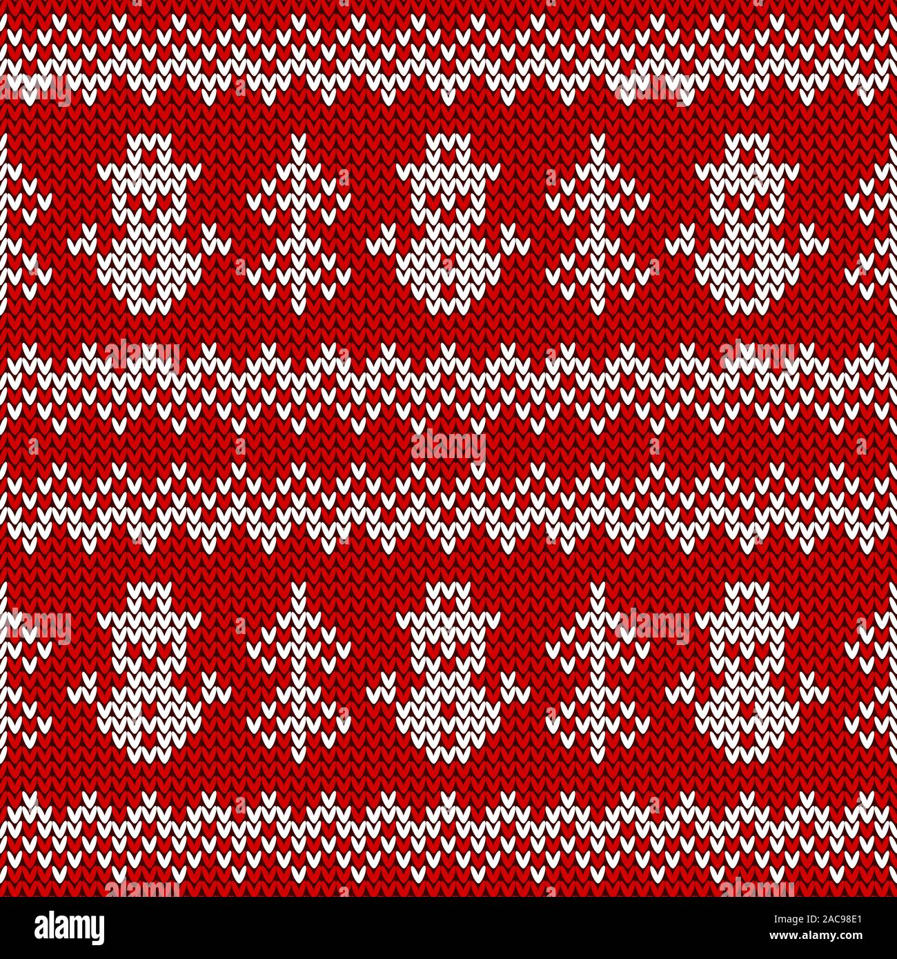 Knitted seamless pattern with snowmen and Christmas trees. Vector background. Red and white sweater ornament for winter holidays design. Stock Vector