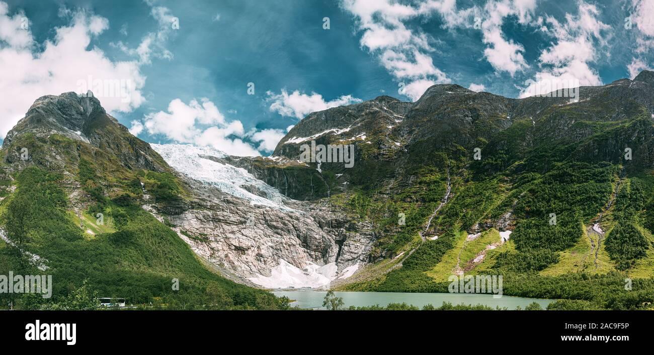 Jostedalsbreen National Park, Sogn Og Fjordane County, Norway. Boyabreen Glacier Landscape In Spring Sunny Day. Famous Norwegian Landmark And Popular Stock Photo