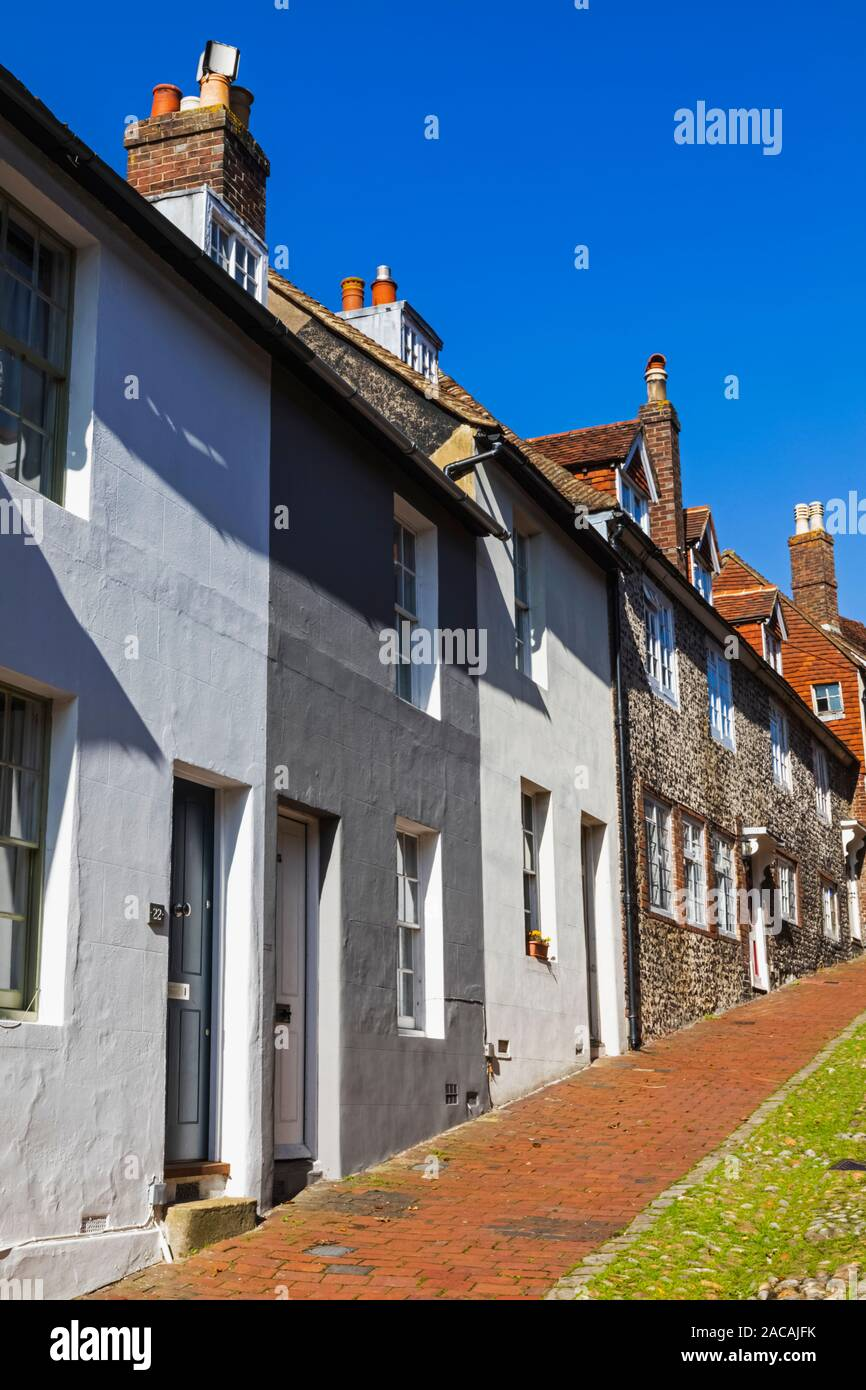 England, East Sussex, Lewes, Keere Street and Houses Stock Photo