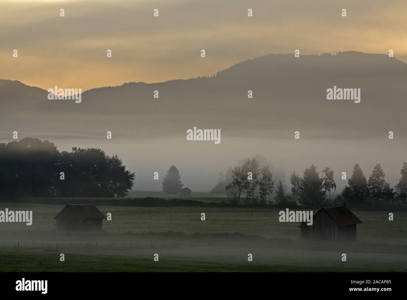 foggy scenery with huts in bavarian pre- alps, germany Stock Photo
