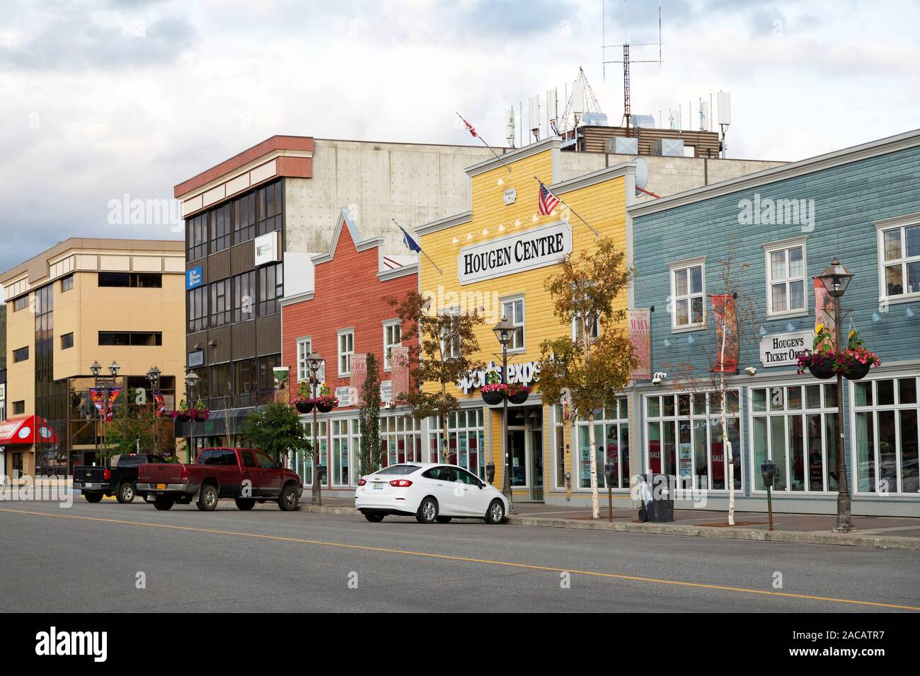 Building Facades On Main Street In Whitehorse The Yukon Canada The Buildings Have Wooden Facades Reminiscent Of Gold Rush Era Edifices Stock Photo Alamy