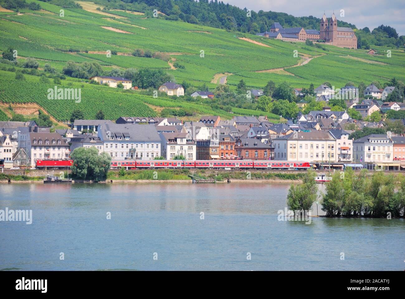 View of Rüdesheim and the monastery Sankt Hildegard, Romantic Rhine Valley, UNESCO World Heritage Upper Middle Rhine Valley Stock Photo
