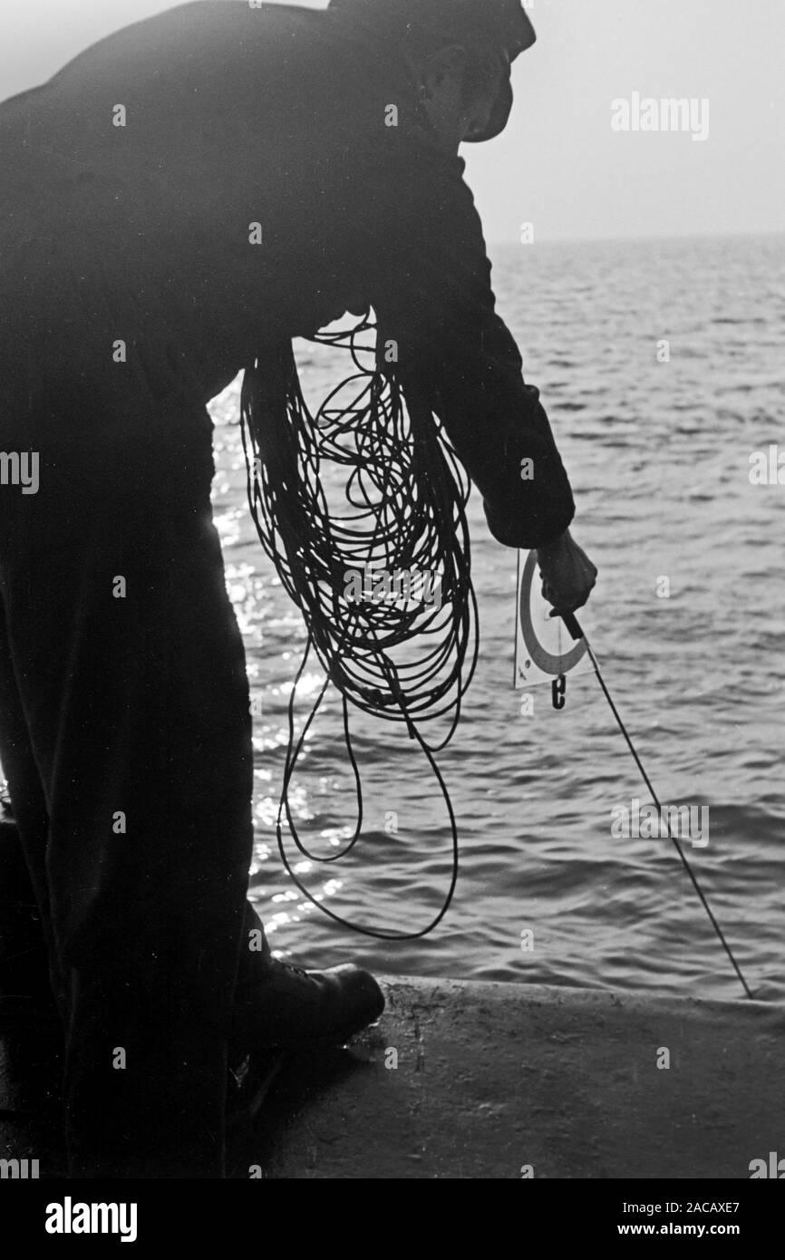 Hafenarbeiter hält Leine des Bojentauchers, Emden, Niedersachsen, Deutschland, 1950. Docker holds leash of buoys diver, Emden, Lower Saxony, Germany, 1950. Stock Photo