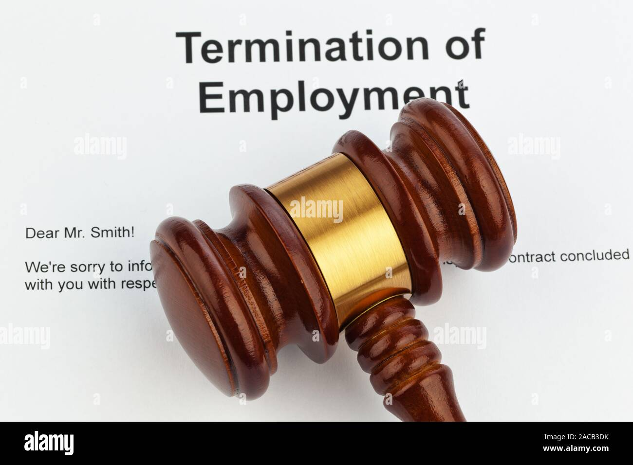 Termination by employer (English) Stock Photo