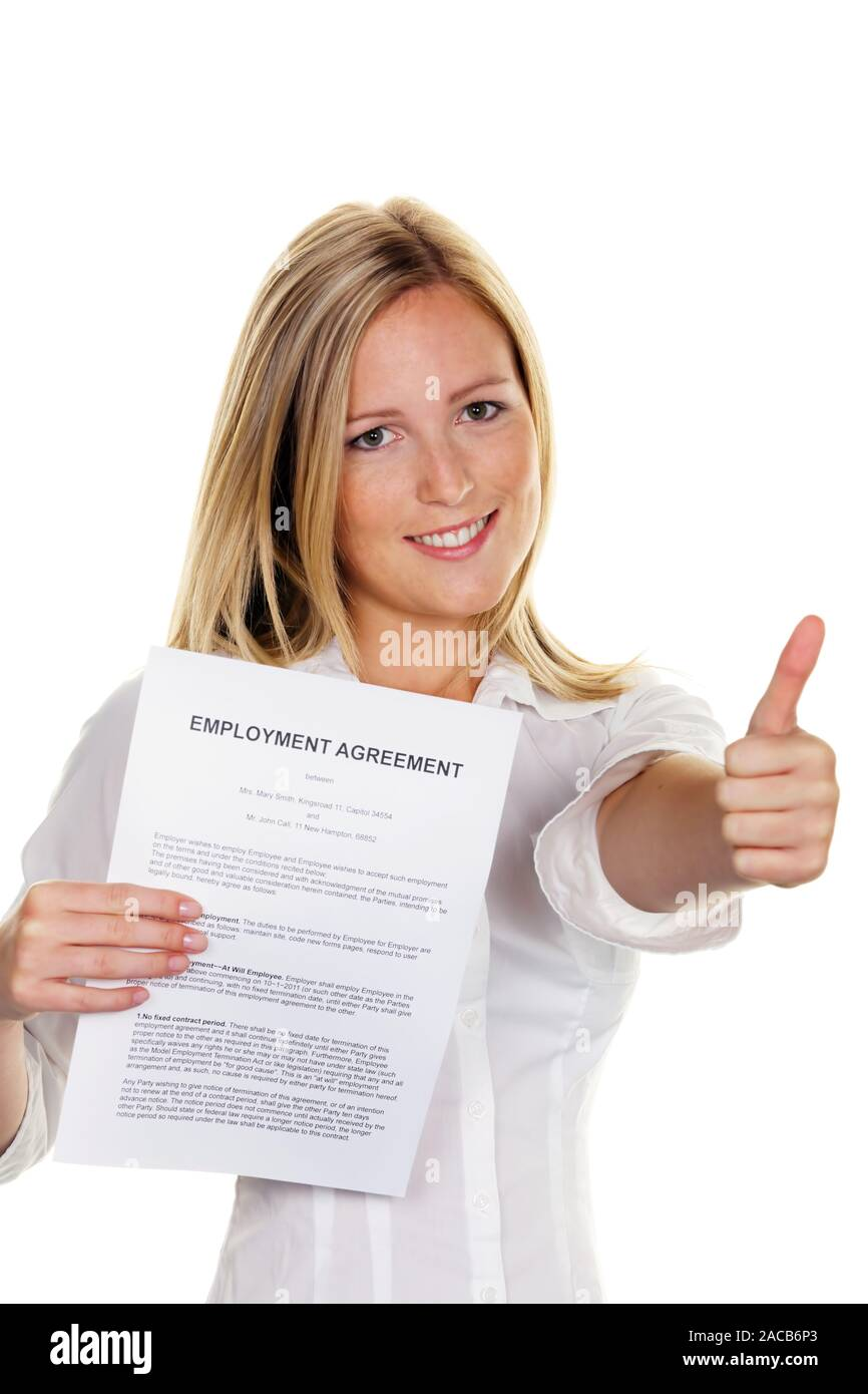 Woman with employment contract in English language Stock Photo