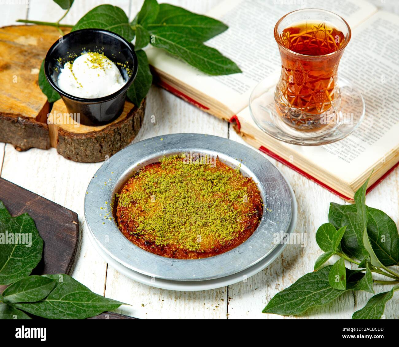 turkish dessert kunefe with ice cream Stock Photo