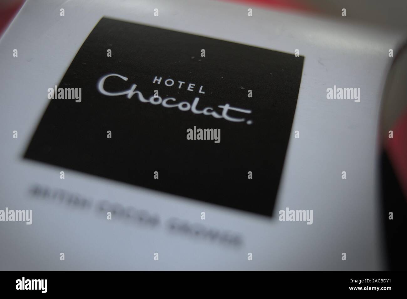 Artistic Macro / close up of a Hotel Chocolat chocolate box Stock Photo