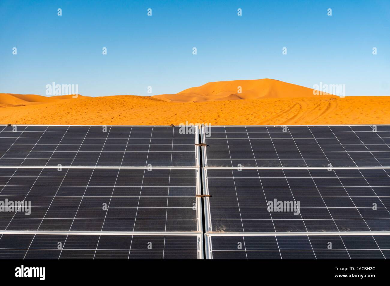 Solar energy panel at desert. Sun as energy resource concept ...
