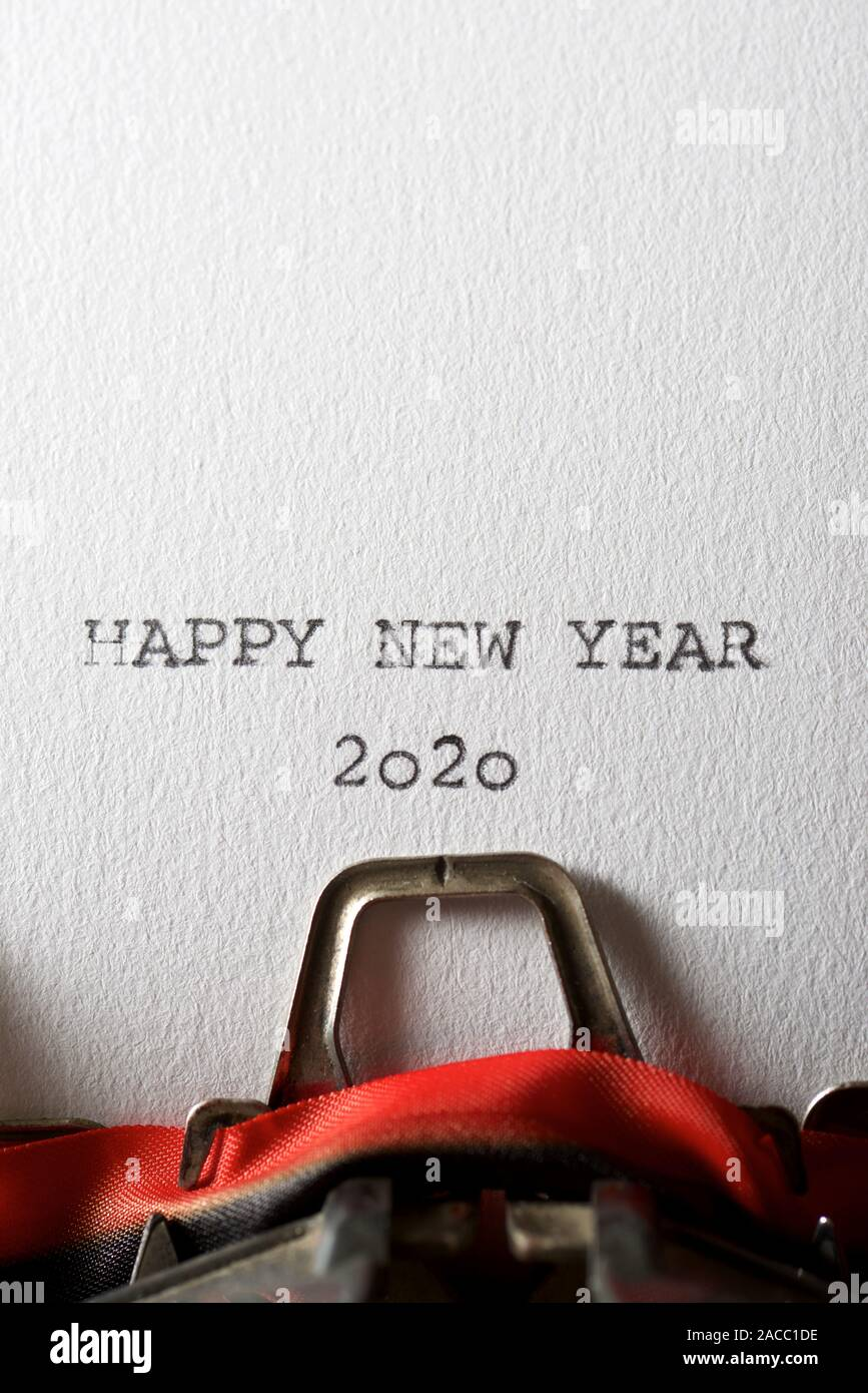 The sentence, Happy New Year 2020, written with a typewriter