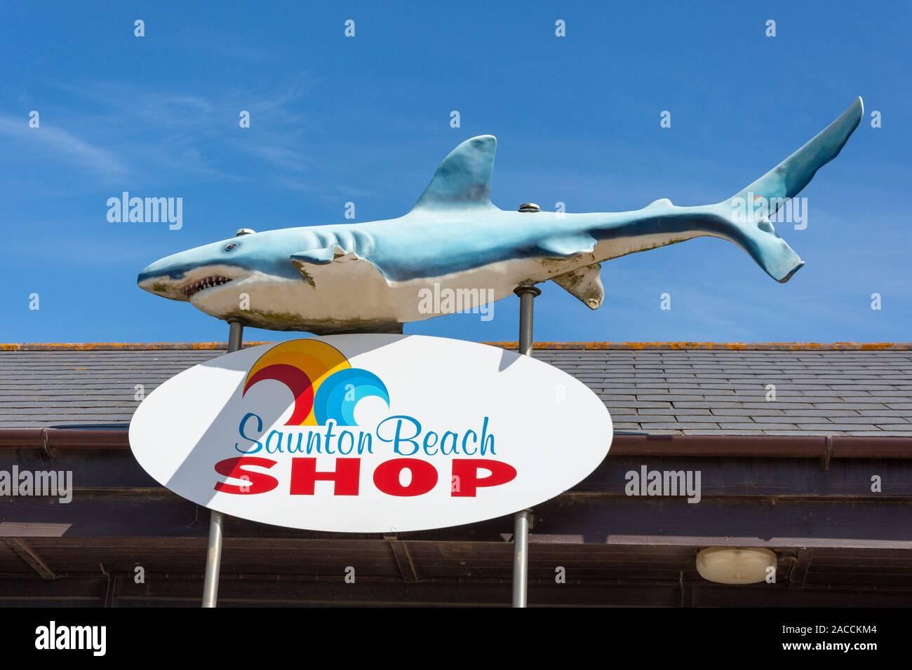 Beach shop entrance sign on Saunton Sands Beach promenade, Saunton, Devon, England, United Kingdom Stock Photo