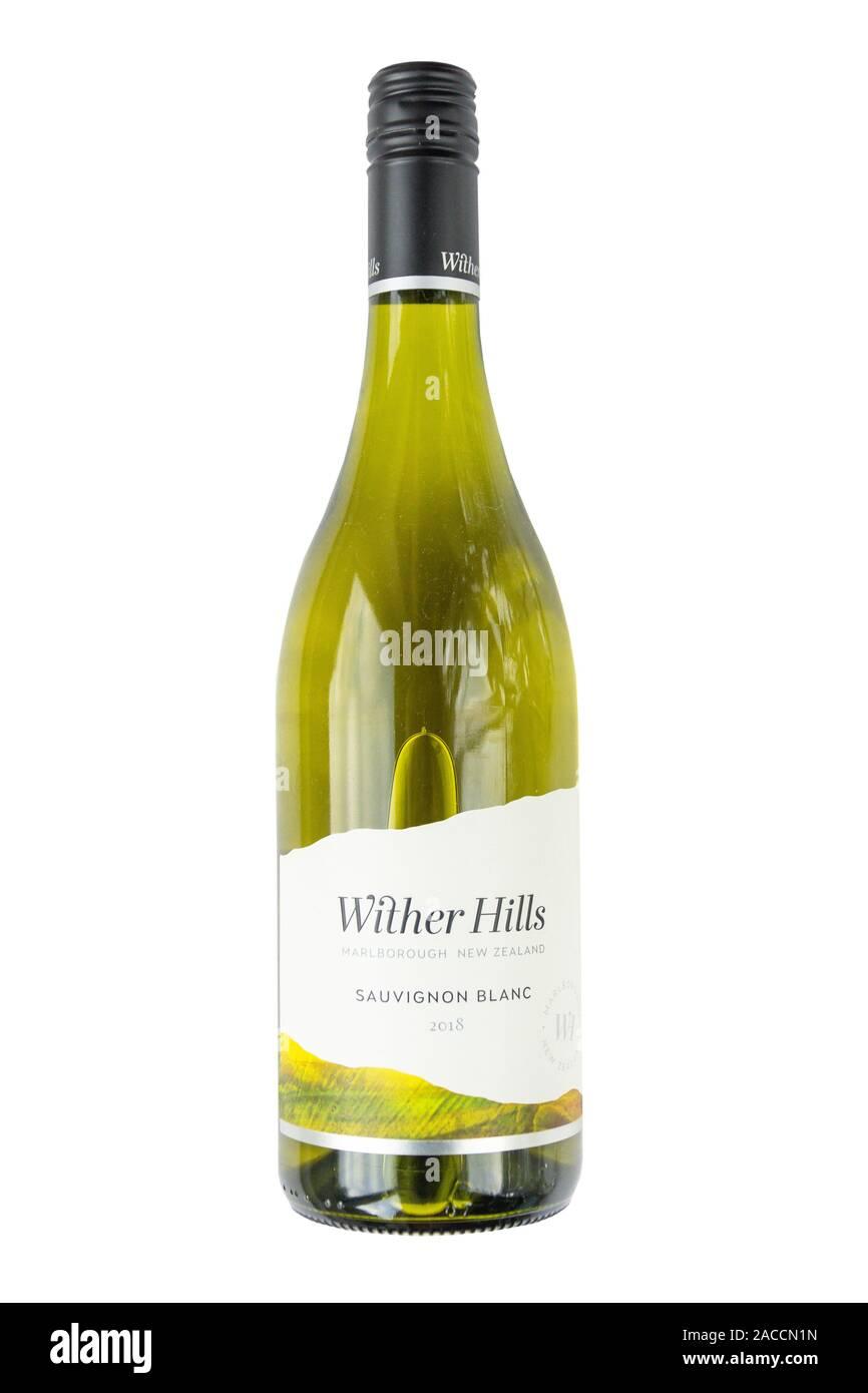 New Zealand Wither Hills Sauvignon Blanc, Marlborough vineyard, Wairau Valley, Blenheim, Marlborough Region, New Zealand Stock Photo