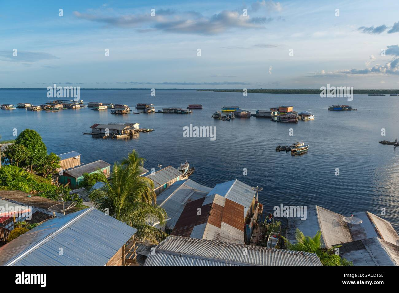Swimming houses on Lake Tefé, small town of Tefé on Solimoes River, Amazon State, Northern Brasilia, Latin America Stock Photo