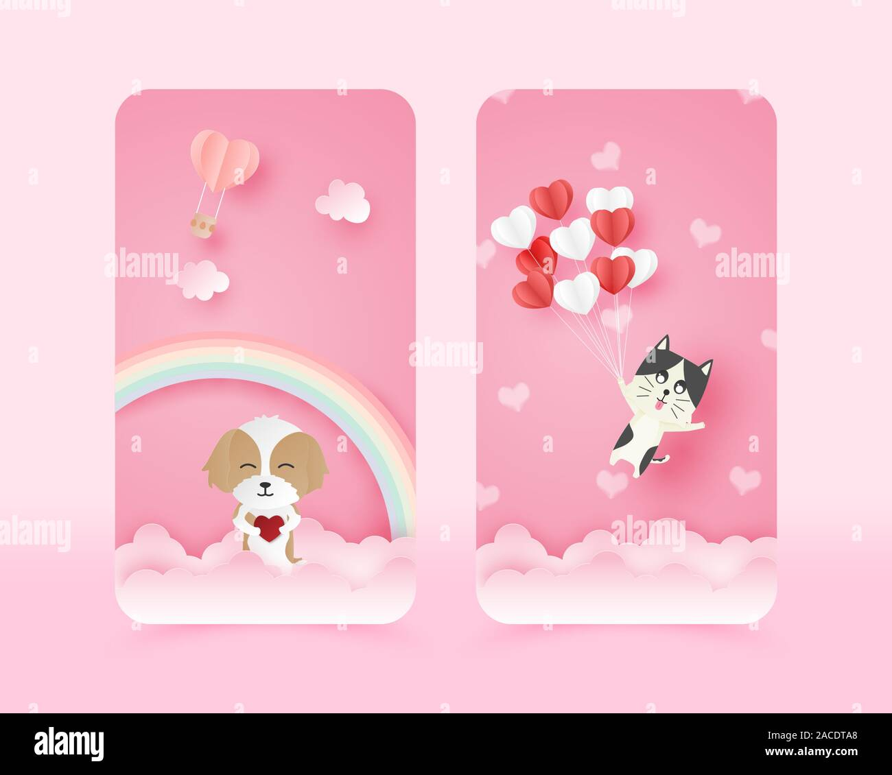 Illustration Of Love Cute Mobile Wallpaper In Paper Cut Style