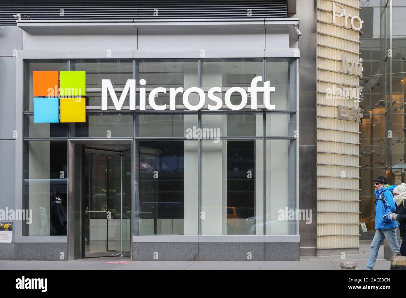 New York November 28 2019: Microsoft store in midtown Manhattan. Microsoft is one of the world's largest software, hardware and video gaming companies Stock Photo