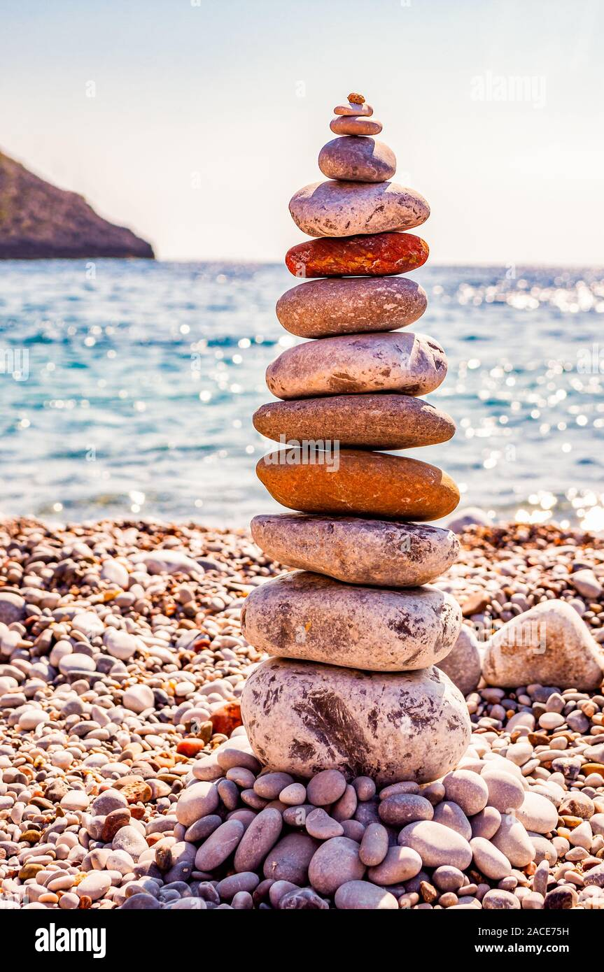 The Tower Of Flat Stones On The Beach Rock Balancing Or Stone