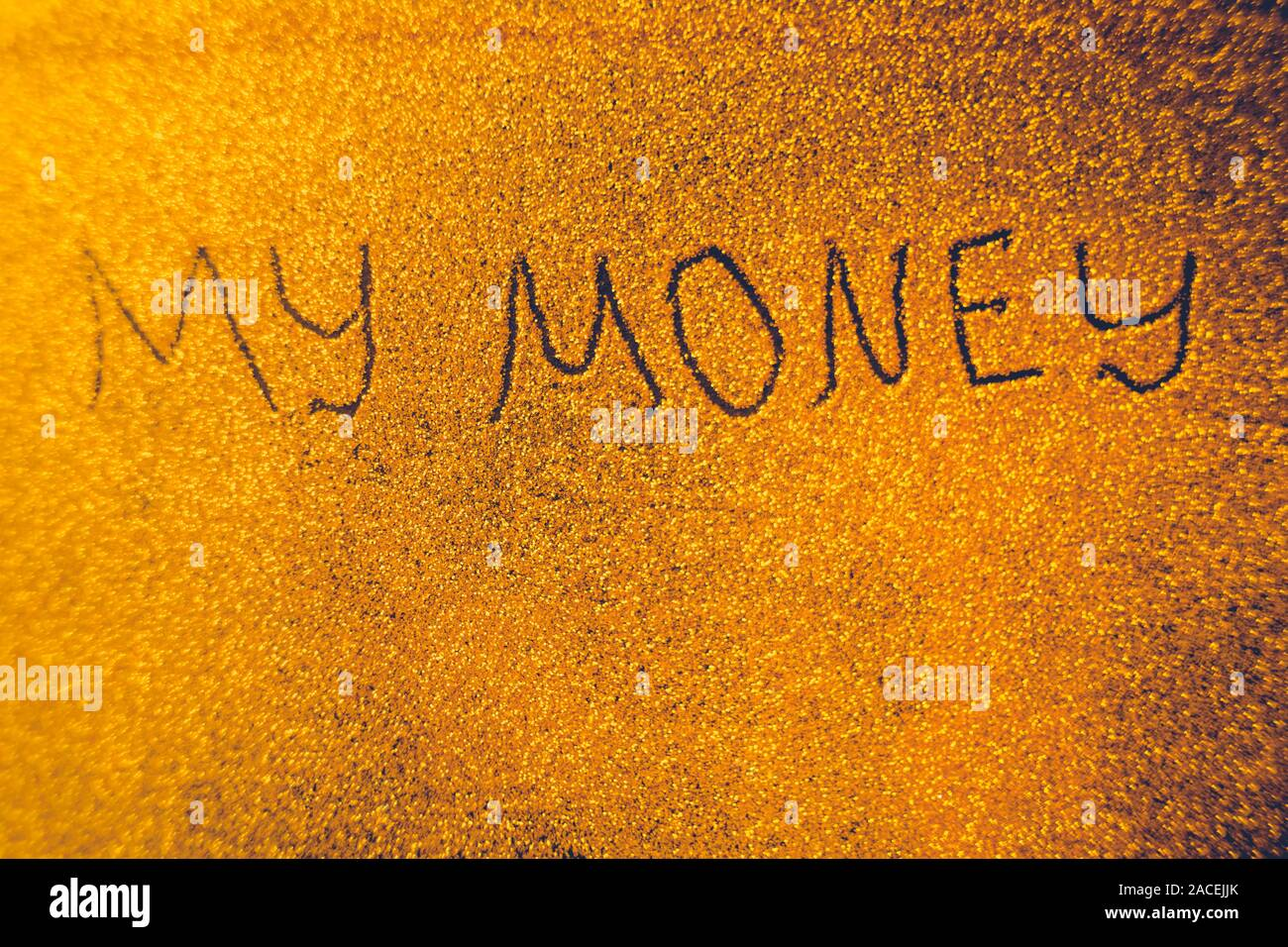 Text My Money on golden rich shiny background. Stock Photo