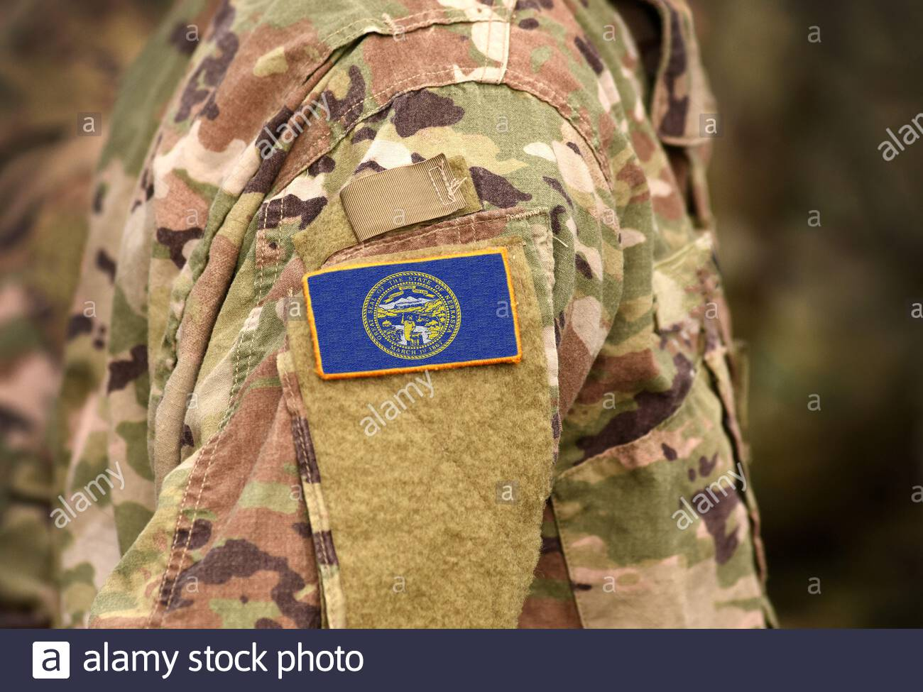 Flag the State of Nebraska on military uniform. United States. USA, army, soldiers. Collage. Stock Photo