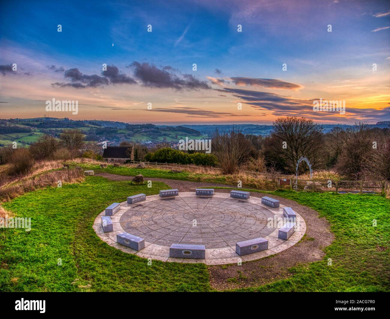 UK Weather: spectacular winter sunset over the star disc above Wirksworth in the Derbyshire Dales, Peak District National Park Stock Photo