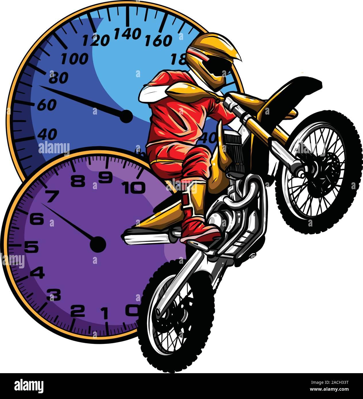 motocross rider ride the motocross bike vector illustration Stock Vector