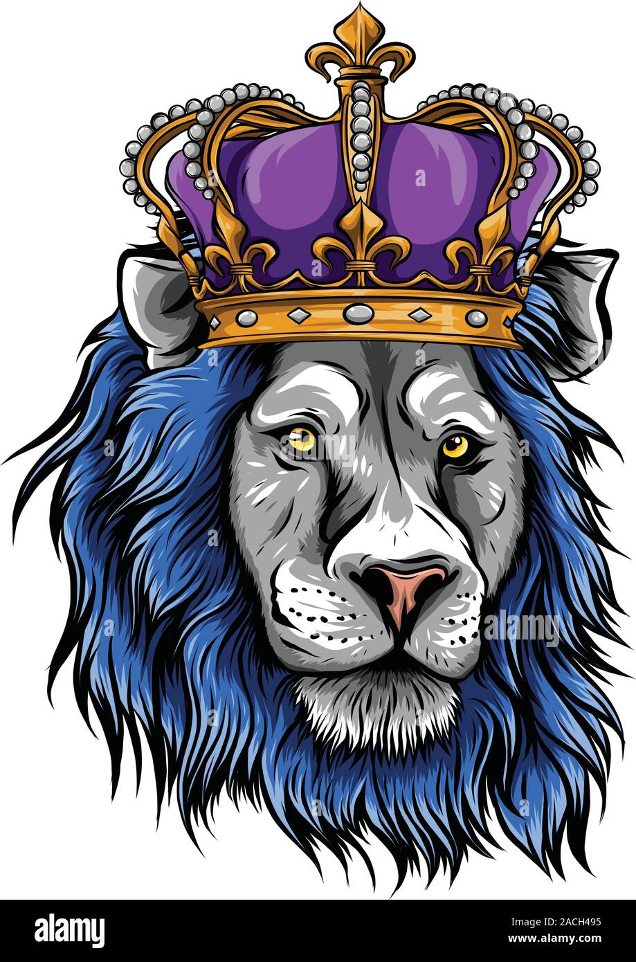 Vector Illustration The Lion King The Head Of A Lion In The Crown On A White Background Stock Vector Image Art Alamy