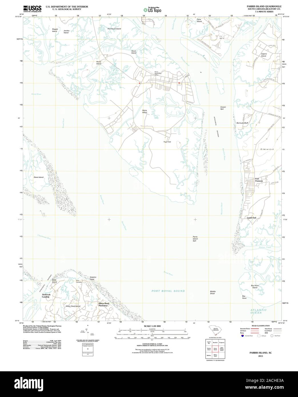 The Parris Island South Carolina Satellite Poster Map