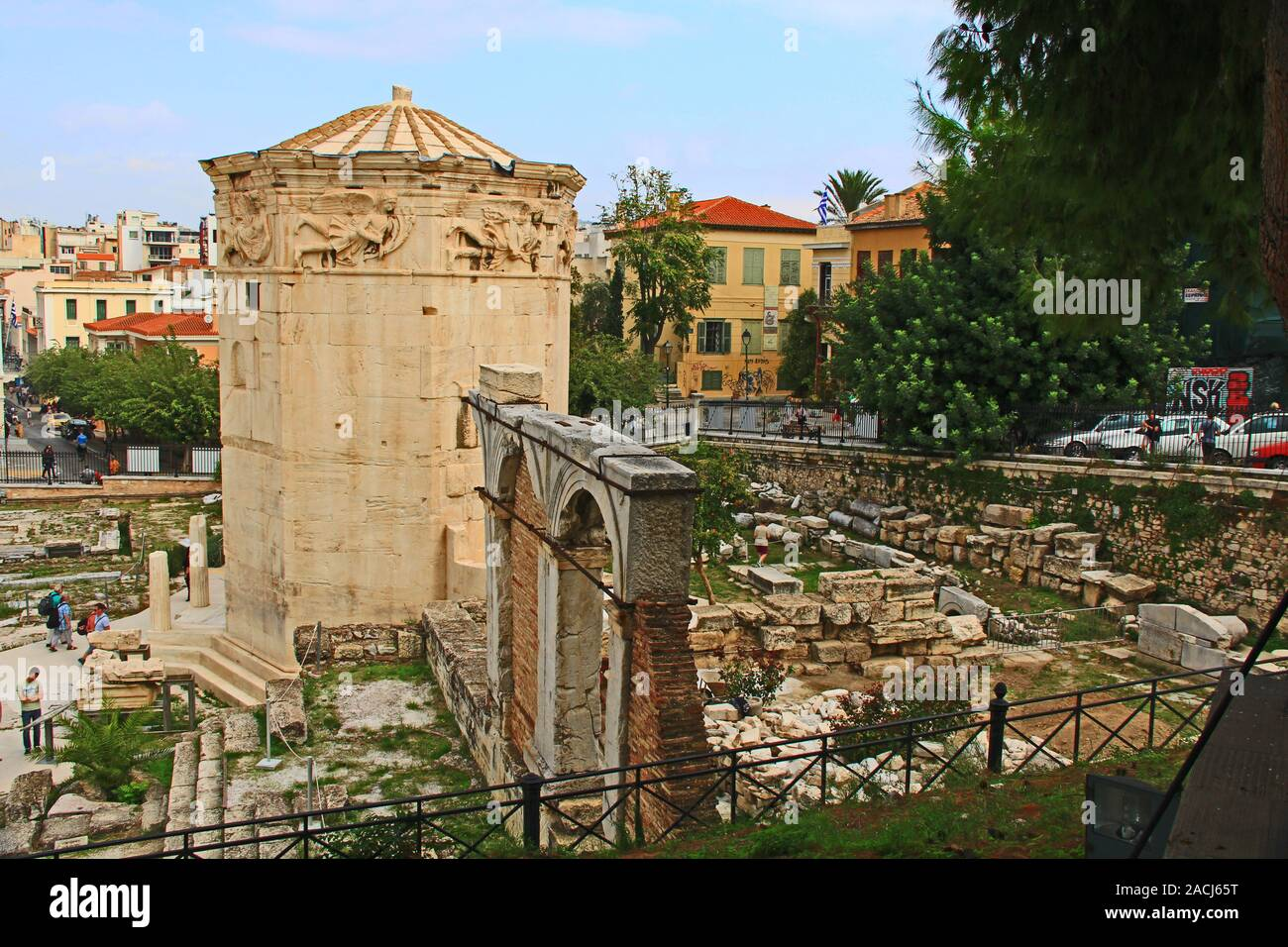 Roman Agora Near The Tower of the Winds in Athens, Greece Stock Photo