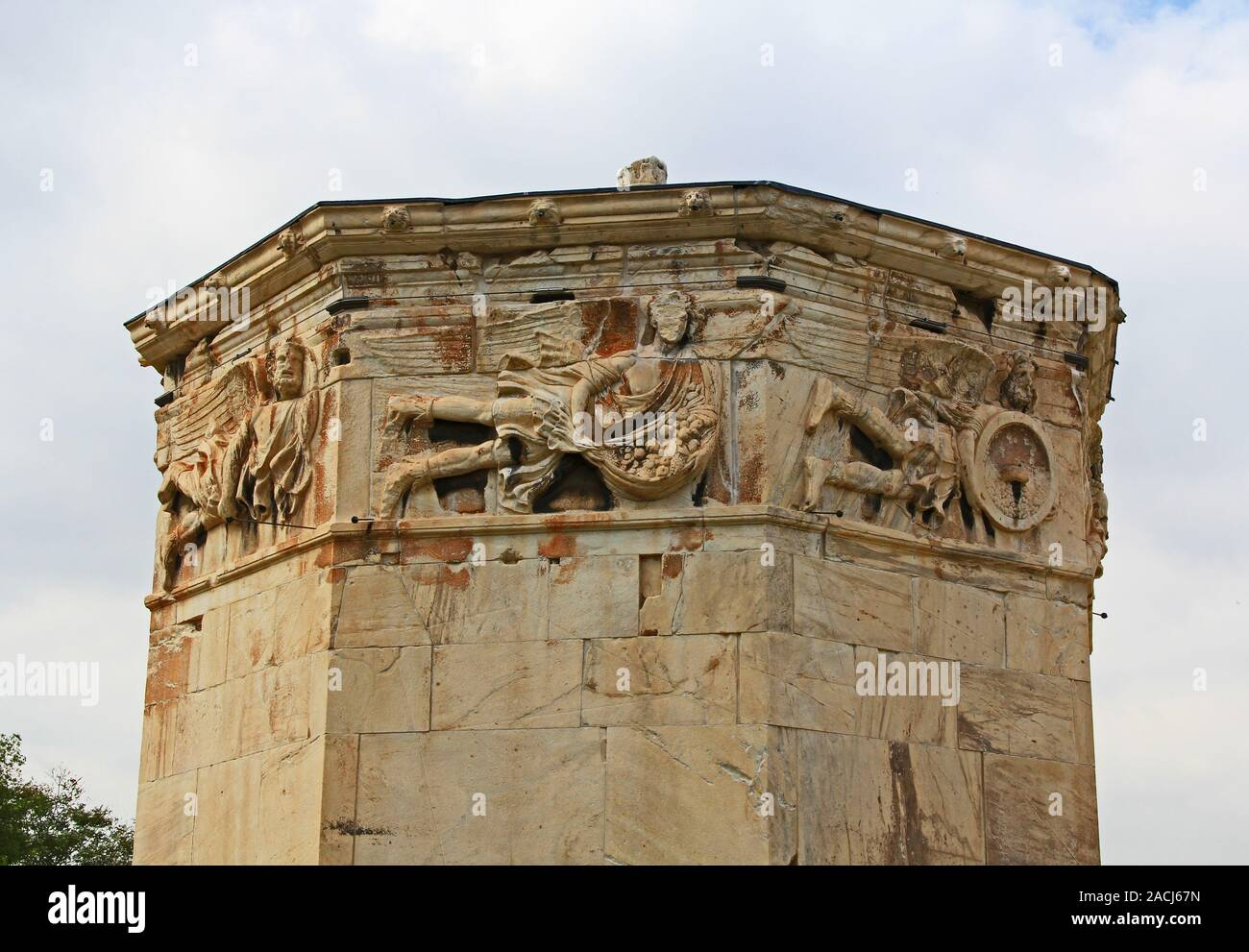 Carvings on the Tower of the Winds in Athens, Greece Stock Photo