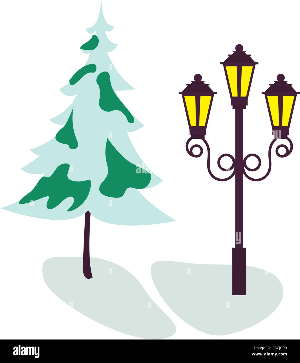 tree pine with snow and lantern street Stock Vector