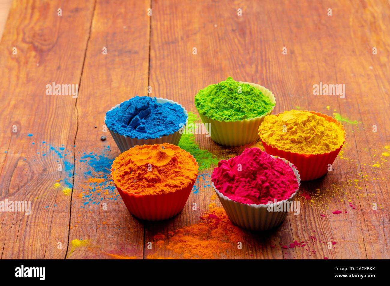Holi color powder. Organic Gulal colours in bowl for Holi ...