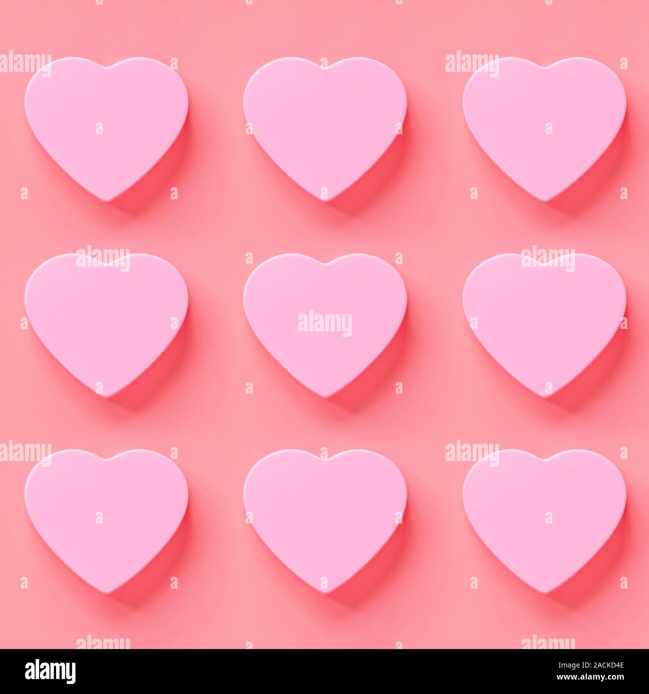 Valentine's day background with pink hearth. Flat lay, top view, mock up, template, copyspace. Minimal abstract composition for 14 February celebratio Stock Photo