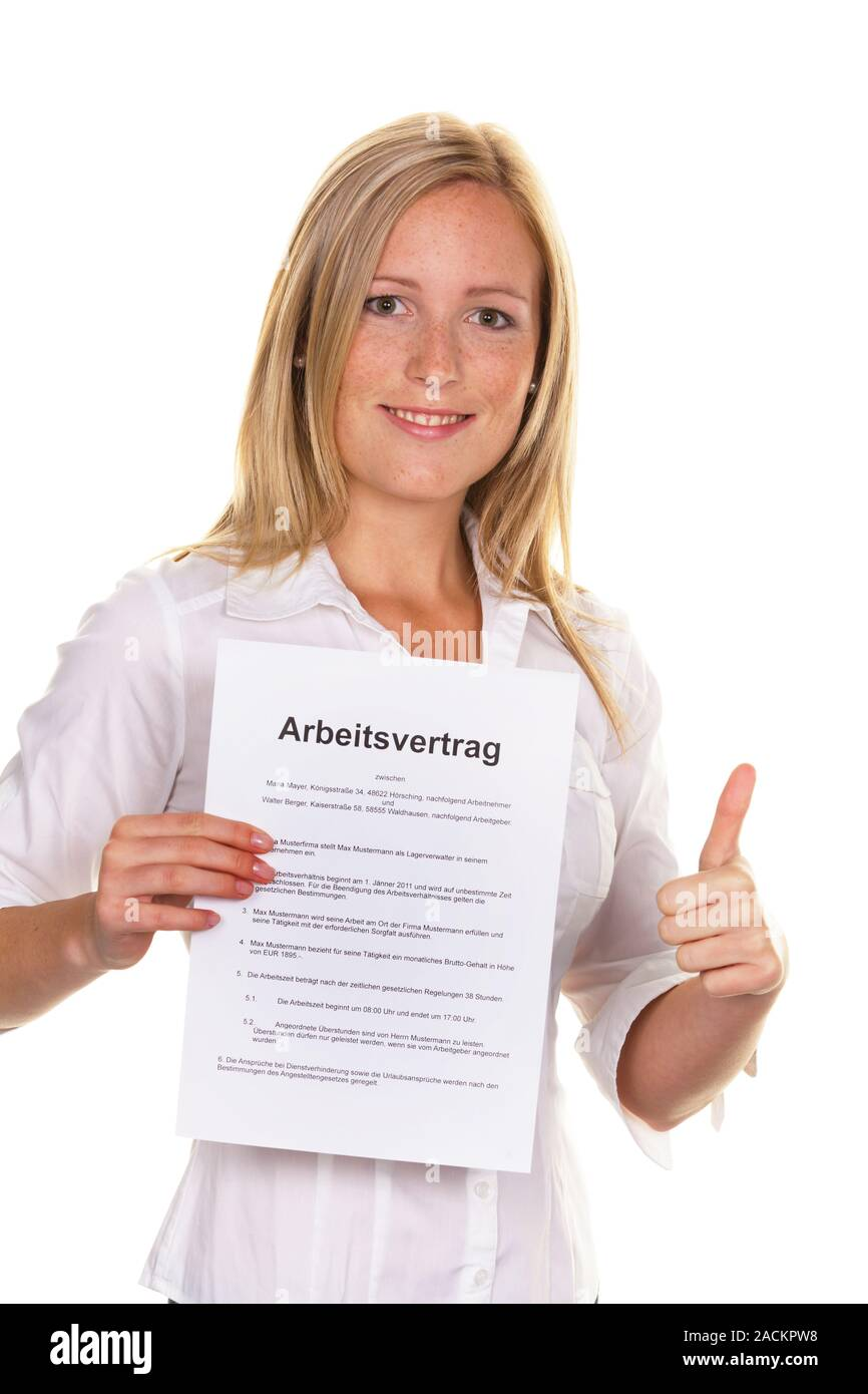 Woman with employment contract Stock Photo
