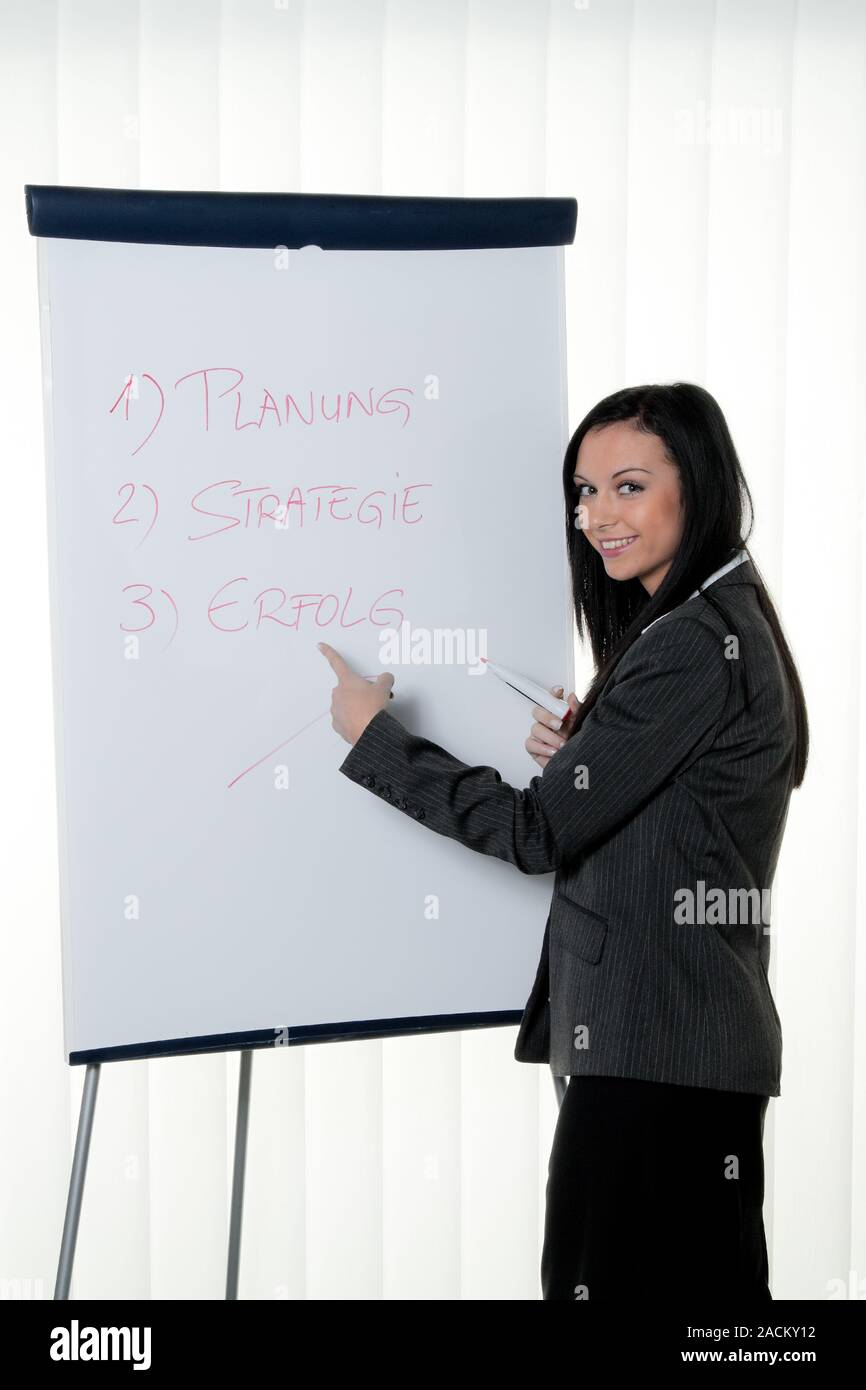 Coach with flipchart in German. Stock Photo