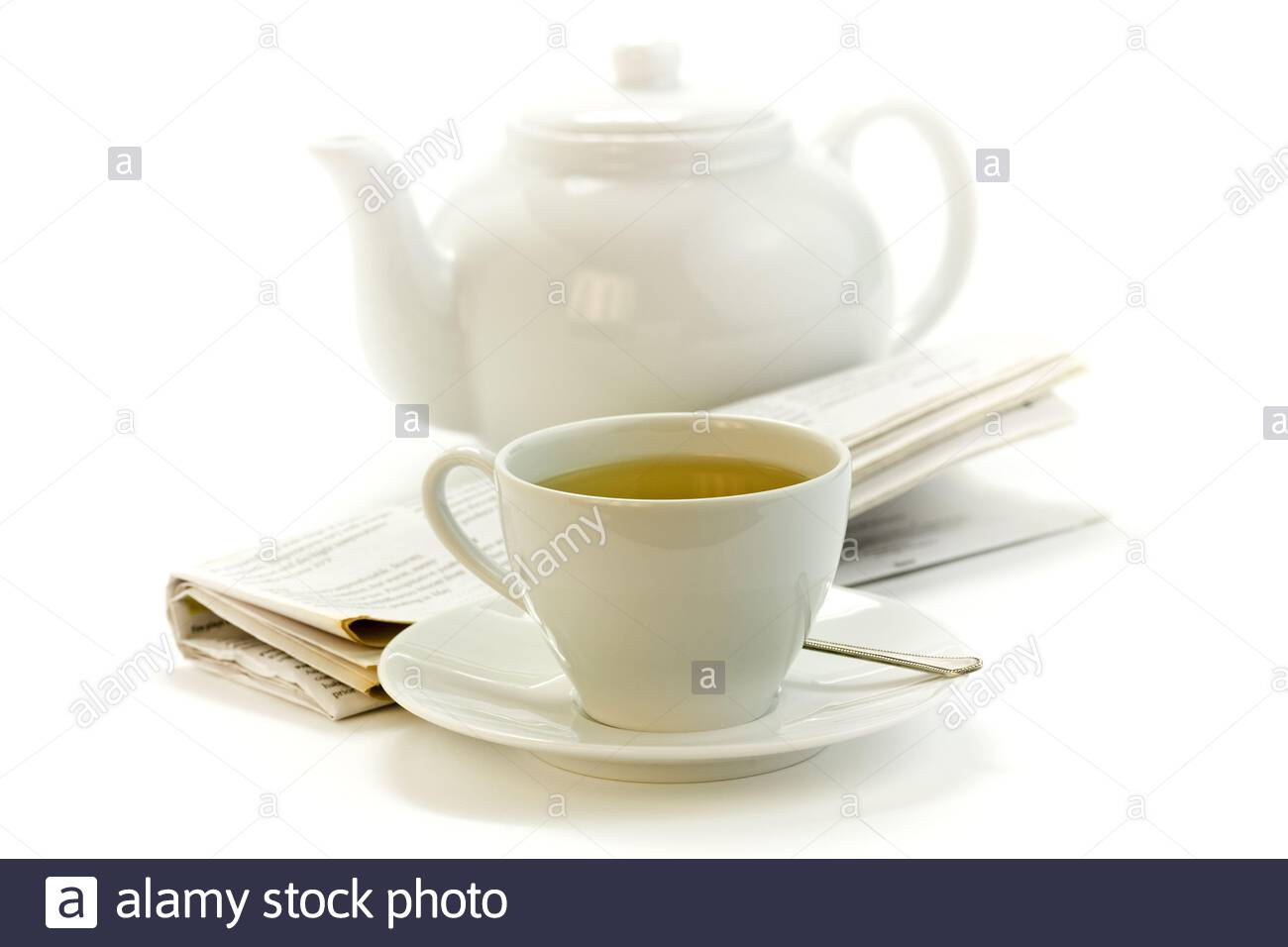 morning cup of tea, teapot and press on white Stock Photo