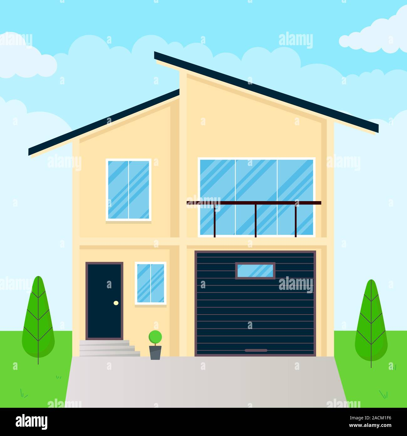 Modern House Exterior Flat Style Design Vector Illustration With Roof Windows And Shadows Classic Townhouse Apartments Fasade Green Grass And Tree Stock Vector Image Art Alamy