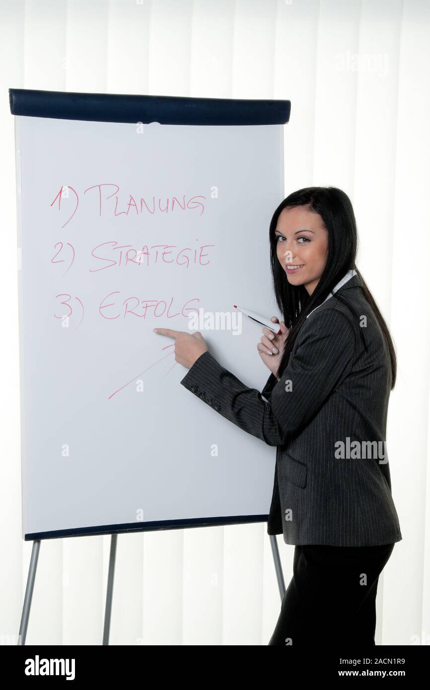 Coach Flipchart in German. Training and education Stock Photo