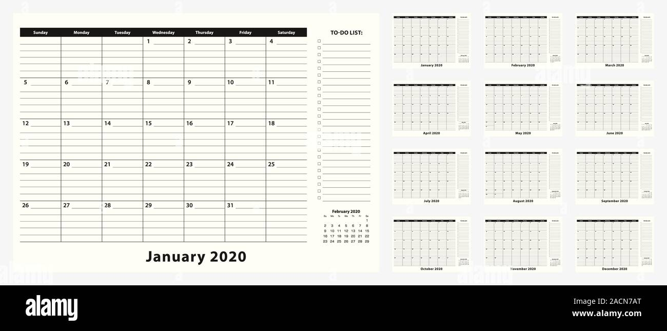 Monthly Business Desk Pad Calendar For Year 2020 12 Month Calendar Planner With To Do List And Place For Notes In Black And White Design Stock Vector Image Art Alamy