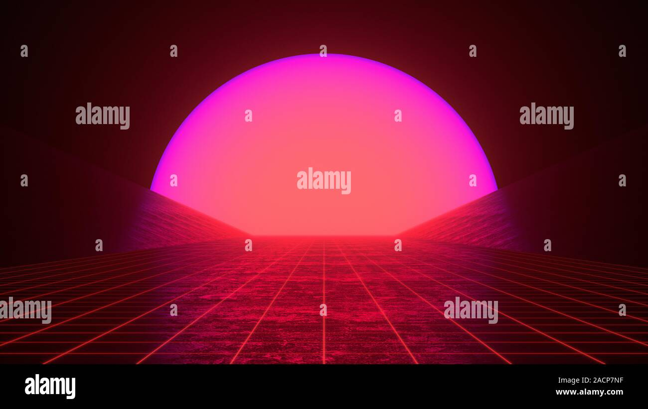 retro 80s styled futuristic synthwave sunset landscape with purple red neon sun and perspective grid retro future flyer banner poster dark colors 2ACP7NF