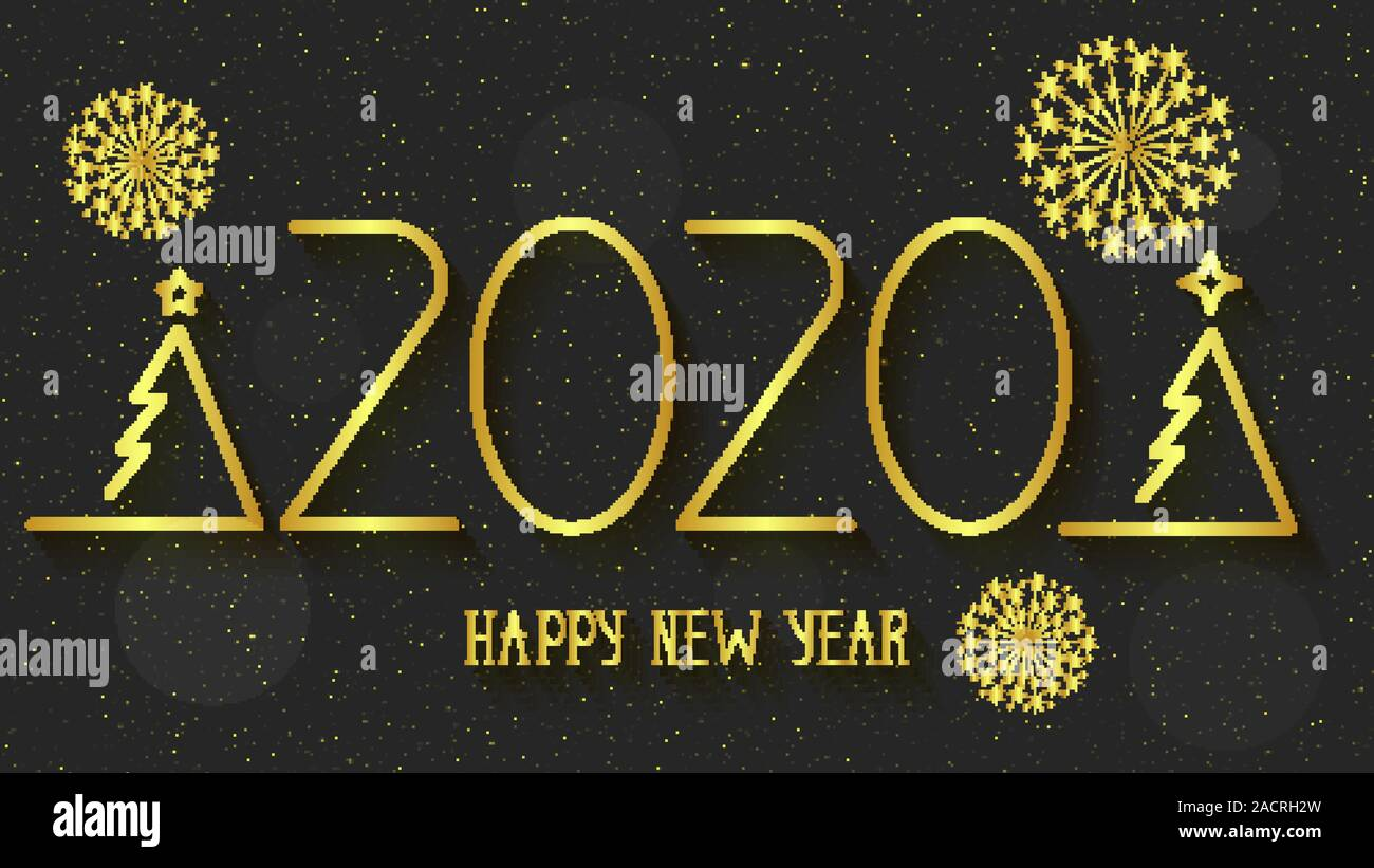 Happy New Year 2020 Logo Text Design Cover Of Business Diary For 2020 With Wishes Brochure Design Template Card Banner Stock Vector Image Art Alamy