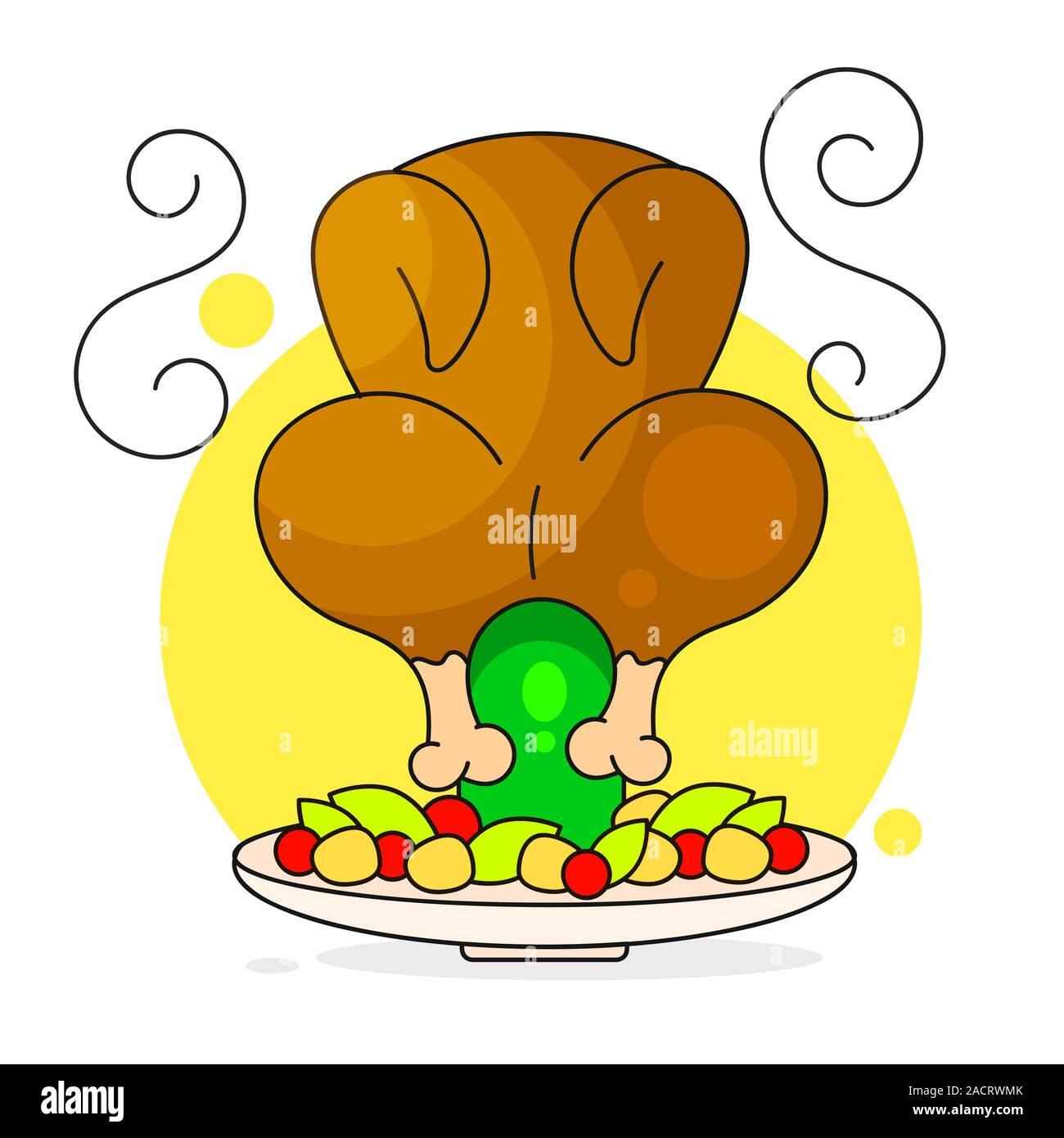 Chicken On Bottle Vector Illustration On White Background Stock Vector