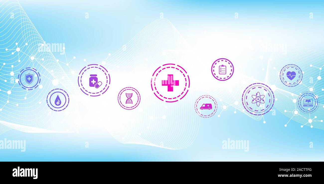 Abstract Health Care Banner Template With Flat Icons Healthcare Medicine Concept Medical Innovation Technology Pharmacy Banner Vector Illustration Stock Vector Image Art Alamy