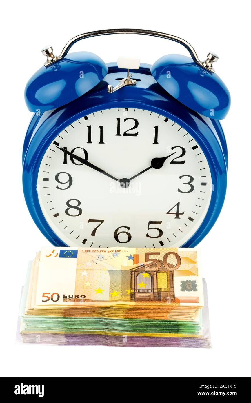 Alarm clocks and banknotes Stock Photo